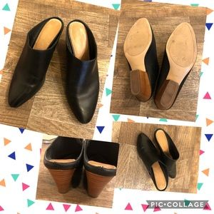 Halogen black leather mules with wood block heel